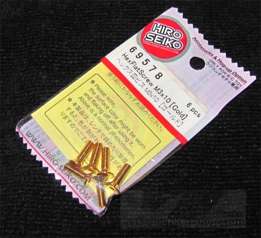 Hiro Seiko Stahlschraube Gold M3 Senkkopf 3x10mm (6 Stück)