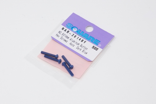 Square Aluscrew Dark Blue Button-Head M2,5 x 14mm (e.g. for ESC Fan)