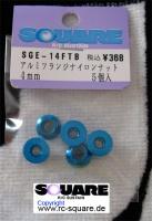 Square SGE-14FTB Aluminum Wheelnuts Tamiya Blue (5Pcs)