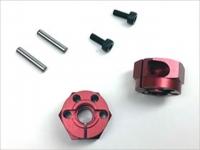 Square TGE-1208R Tamiya Alu wheel hubs 8mm red